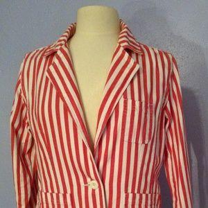 Bill Blass Pink & White Striped Jeans Jacket